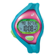 ASICS® Womens Entry Running 100-Lap Blue/Pink Chronograph Sport Watch