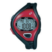 ASICS® Mens Entry Running 100-Lap Black/Red Chronograph Sport Watch