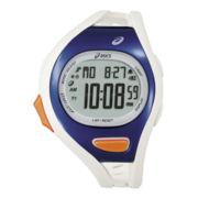 ASICS® Mens Entry Running 100-Lap White/Blue Chronograph Sport Watch
