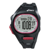 ASICS® Mens Heat Rate Monitor 300-Lap Black Chronograph Sport Watch