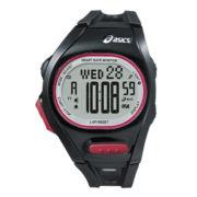 ASICS® Mens Heat Rate Monitor 300-Lap Black Chronograph Sport Watch