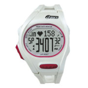 ASICS® Mens Heat Rate Monitor 300-Lap White Chronograph Sport Watch