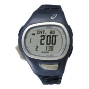 ASICS® Mens Interval Training 150-Lap Blue Chronograph Sport Watch