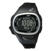 ASICS® Mens Interval Training 150-Lap Black Chronograph Sport Watch