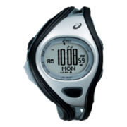 ASICS® Mens Challenge 500-Lap Black/Silver-Tone Chronograph Sport Watch