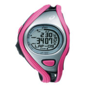 ASICS® Womens Challenge 500-Lap Pink/Silver-Tone Chronograph Sport Watch