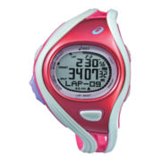 ASICS® Womens Challenge 500-Lap White/Red Chronograph Sport Watch