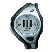 ASICS® Mens Super Challenge 500-Lap Black/Silver-Tone Chronograph Sport Watch