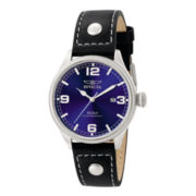 Invicta® Mens Blue Dial Black Leather Strap Sport Watch