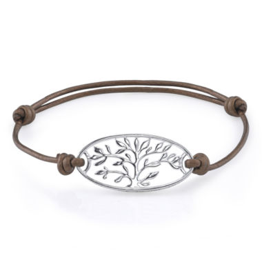jcpenney.com | Footnotes Too® Pure Silver Plated Family Leather Bracelet