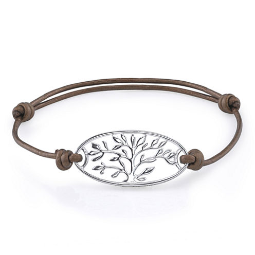 Footnotes Too® Pure Silver Plated Family Leather Bracelet