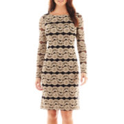Jessica Howard Long-Sleeve Lace Shift Dress