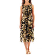 J. Taylor Sleeveless Ruched-Waist Gold Foil-Print Dress