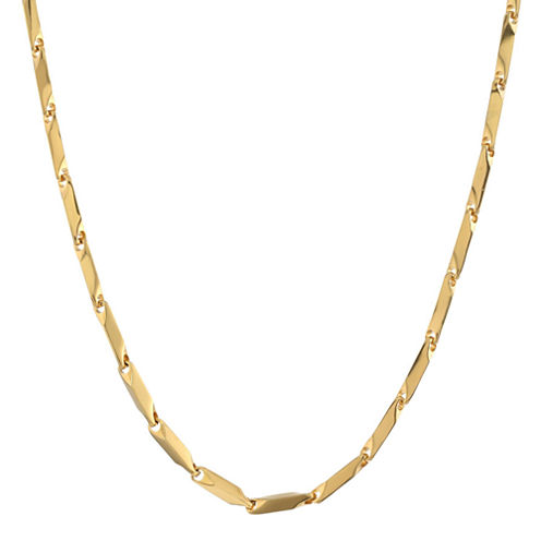 "Mens Stainless Steel & Gold-Tone IP 24"" 3mm Link Chain"