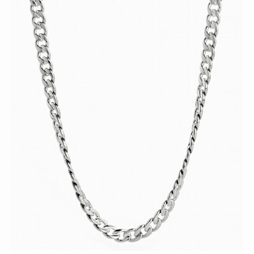 "Mens Stainless Steel 24"" 7mm Curb Chain"