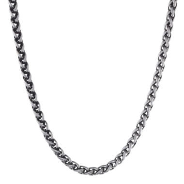 "jcpenney.com | Mens Stainless Steel & Black IP 24"" 8mm Wheat Chain"