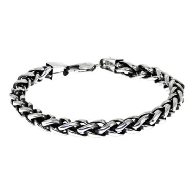 "jcpenney.com | Mens Stainless Steel & Black IP 9"" 8mm Wheat Bracelet"