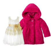 Pinky Glitter Dress or Hooded Faux Fur Jacket - Girls