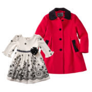 Youngland® Knit Dress or Rothschild Faux Wool Dress Coat - Girls