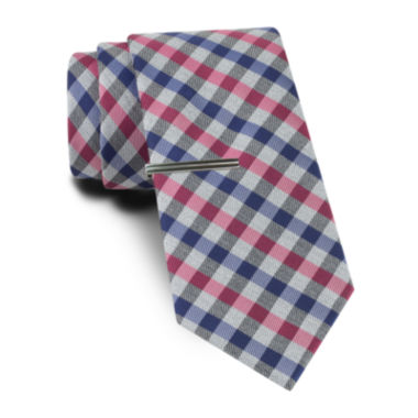 jcpenney.com | JF J. Ferrar® Blurred Gingham Tie and Tie Bar Set - Slim
