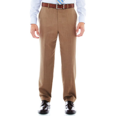jcpenney.com | Stafford® Travel Tan Herringbone Flat-Front Suit Pants - Classic Fit