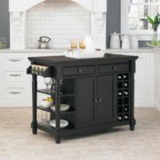 Langford Rustic Wood Kitchen Island with Wine Rack