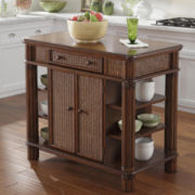 Lucia Mahogany Kitchen Island with Storage Drawers