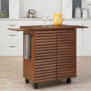 Louvered Rolling Kitchen Cart with Towel Rack