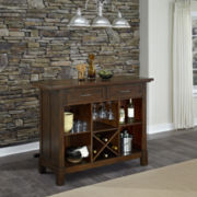 Mountain Lodge Distressed Mahogany Bar with Stemware Rack