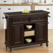Dawson Mahogany Rolling Kitchen Cart with Towel Rack