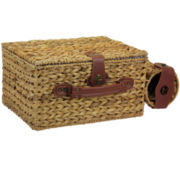 Household Essentials® Banana Leaf Picnic Basket & Wine Caddy - Service for 4
