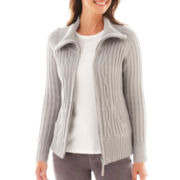 St. John's Bay® Long-Sleeve Ribbed Cable Zip Cardigan - Tall
