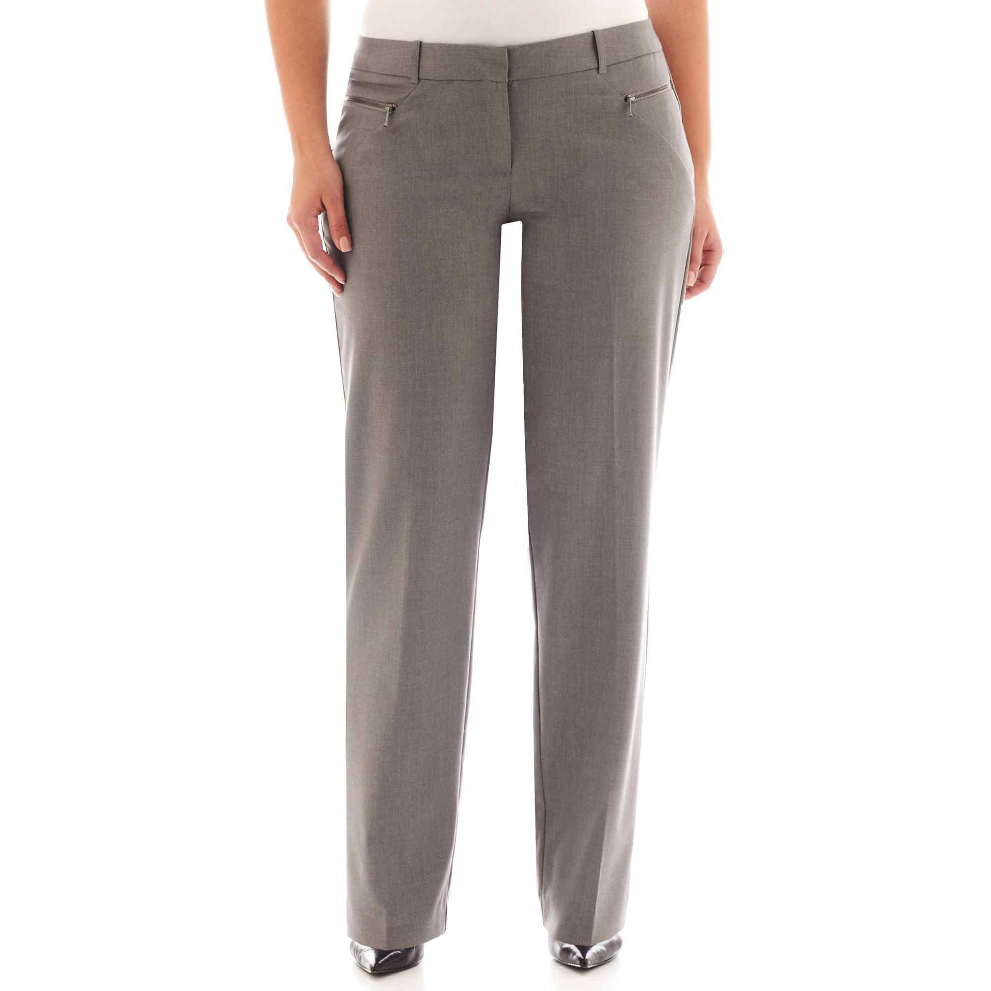Worthington Zipper-Pocket Straight-Leg Trouser Pants - Plus