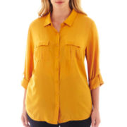 a.n.a® 2-Pocket Rayon Shirt - Plus