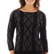 Worthington® 3/4-Sleeve Textured Geo Sweater