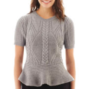 Worthington® Short-Sleeve Cable Peplum Sweater