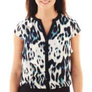 Worthington® Short-Sleeve Asymmetrical Ruffle Blouse