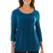 Worthington® 3/4-Sleeve Cable Sweater
