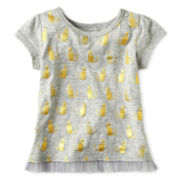 Okie Dokie® Girl Short Sleeve Tulle Tee - Girls newborn-24m
