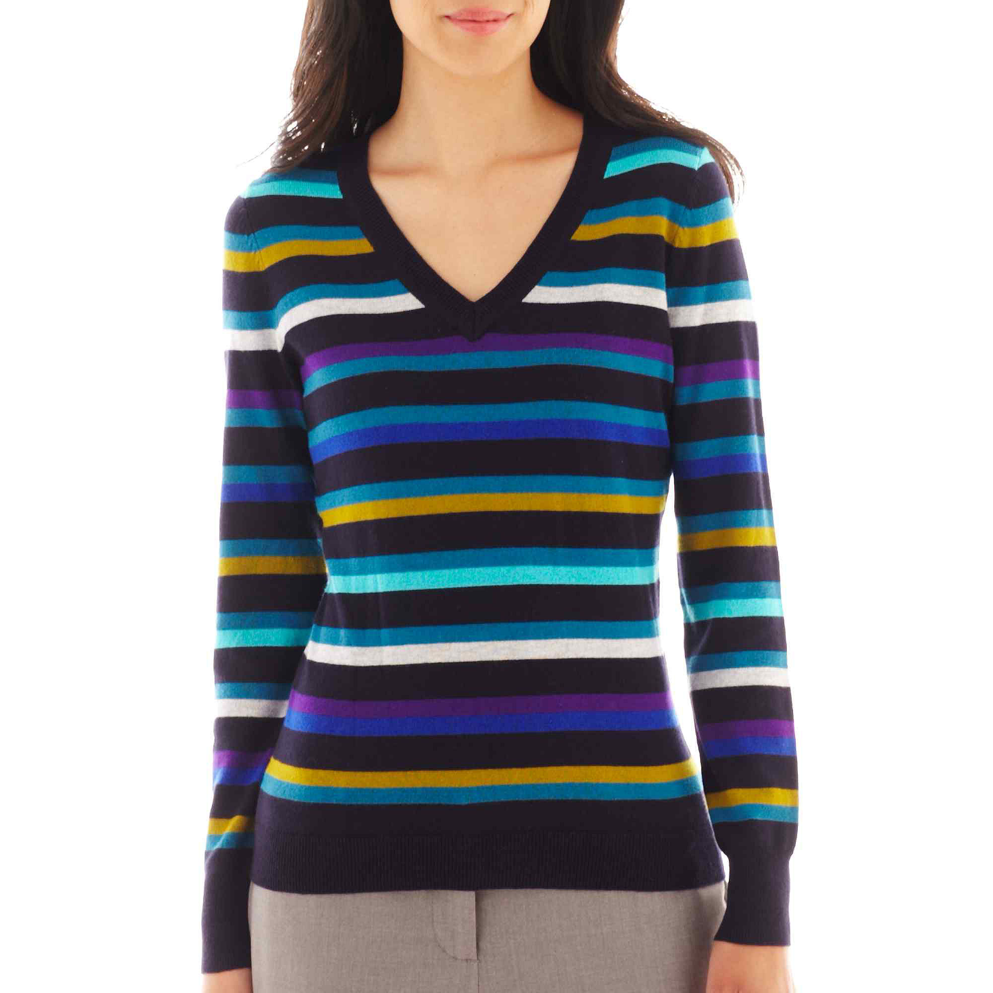Worthington Long Sleeve Ribbed V Neck Sweater Petite | Clothing
