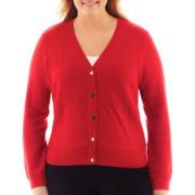 Liz Claiborne Long-Sleeve Basketweave Cardigan Sweater - Plus