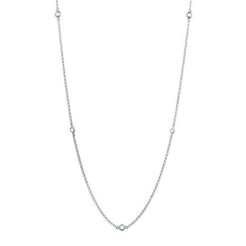Genuine Aquamarine Sterling Silver Station Necklace