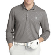 IZOD® Golf Long-Sleeve Embossed Argyle Polo