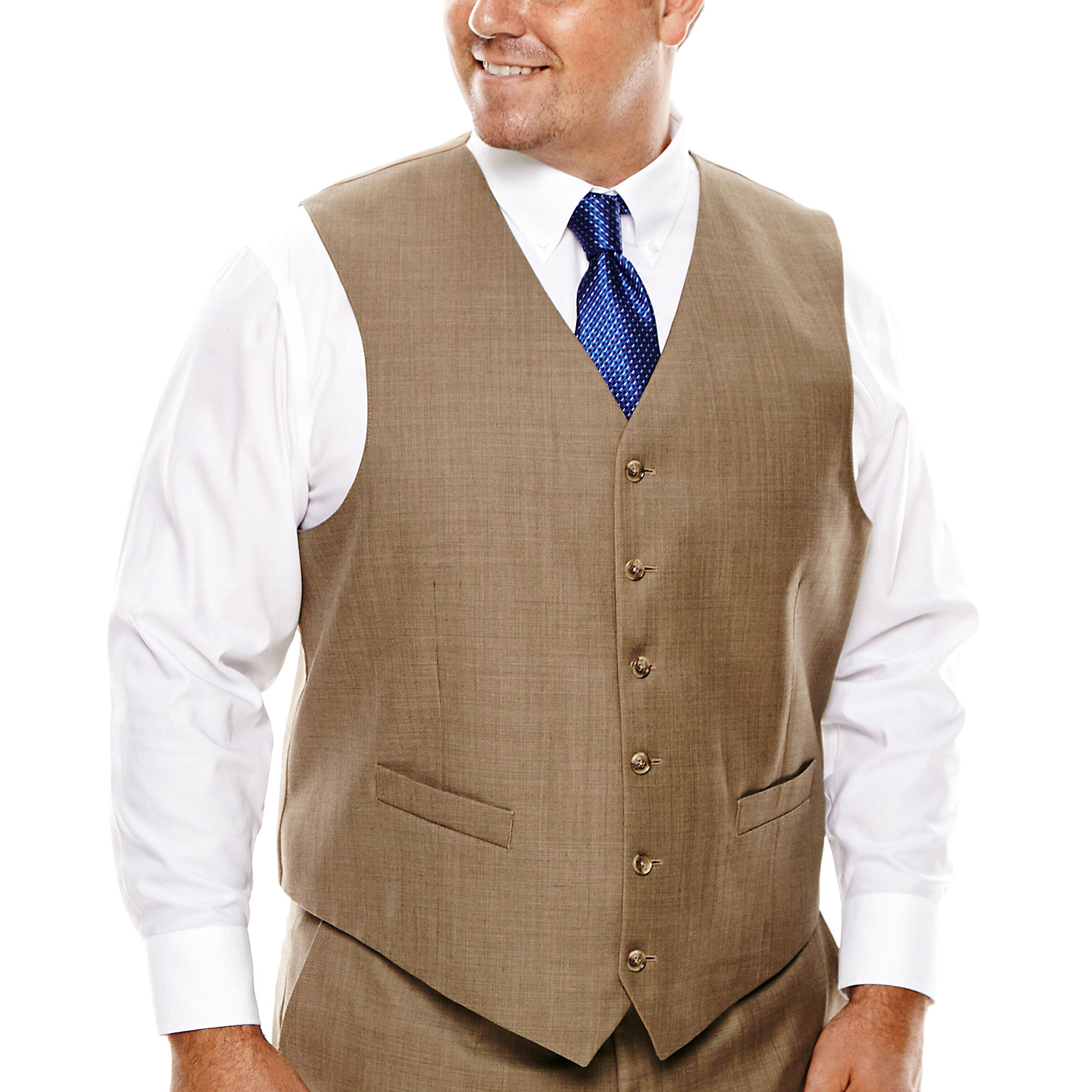 Stafford Travel Sharkskin Suit Vest - Big & Tall