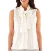 Black Label by Evan-Picone Sleeveless Tie-Neck Blouse