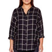Stylus™ Long-Sleeve Oversized Plaid Tunic - Plus