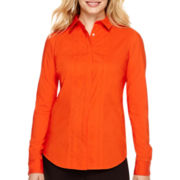 Worthington® Long-Sleeve Button-Front Shirt - Petite