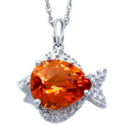 Sterling Silver Orange Sapphire Fish Pendant Necklace