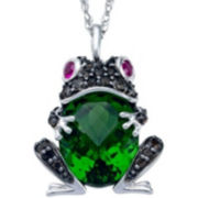 Simulated Peridot & Lab-Created Ruby Frog Pendant