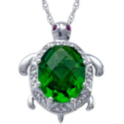 Sterling Silver Simulated Peridot Turtle Pendant Necklace